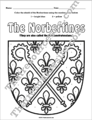 Norbertine Color By Number Worksheet