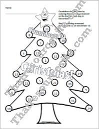 Countdown to Christmas Advent Calendar Coloring Sheet