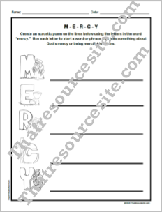 Mercy Acrostic Worksheet