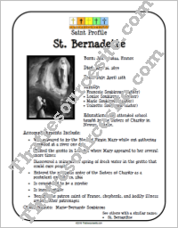 St. Bernadette Saint Profile Sheet