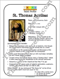 St. Thomas Aquinas Saint Profile Sheet