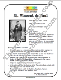 St. Vincent de Paul Saint Profile Sheet