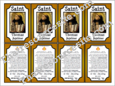St. Thomas Aquinas Printable Saint Trading Card