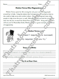Mother Teresa Copywork Worksheets