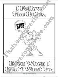 I Follow the Rules Coloring Sheet