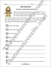 Activities to Build Determination Worksheet