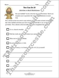Activities to Build Faithfulness Worksheet