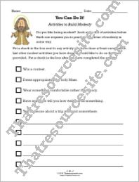 Activities to Build Modesty Worksheet