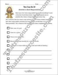 Activities to Build Responsibility Worksheet