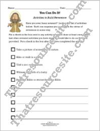 Activities to Build Reverence Worksheet