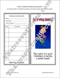 Virtue of Joyfulness Reading Log Bookmark