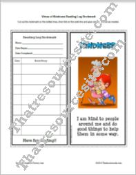 Virtue of Kindness Reading Log Bookmark