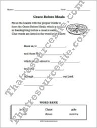 Word Bank Worksheet for the Grace Before Meals