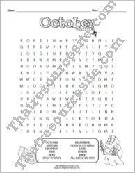 Month of October Word Search Puzzle