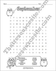 Month of September Word Search Puzzle