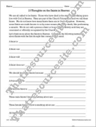 10 Thoughts on the Saints in Heaven Worksheet