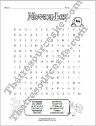 Month of November Word Search Puzzle