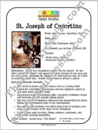 St. Joseph of Cupertino Saint Profile Sheet