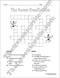 The Seven Deadly Sins Crossword Puzzle