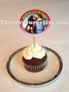 Sample of St. Raphael cupcake decoration