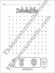 Month of December Word Search Puzzle