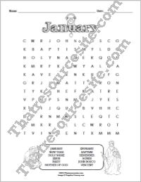 Month of January Word Search Puzzle