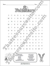 Month of February Word Search Puzzle