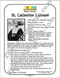 St. Catherine Laboure Saint Profile Sheet