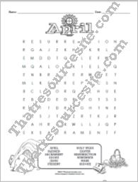 Month of April Word Search Puzzle