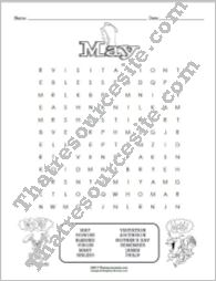 Month of May Word Search Puzzle