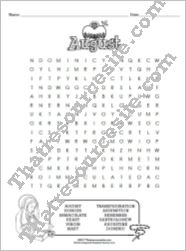 Month of August Word Search Puzzle Worksheet