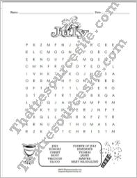 Month of July Word Search Puzzle Worksheet