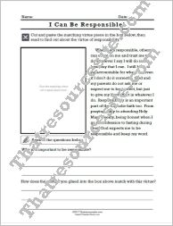 I Can Be Responsible Cut-N-Paste Virtue Lesson Sheet