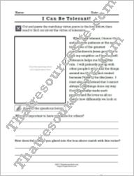 I Can Be Tolerant Cut-N-Paste Virtue Lesson Sheet