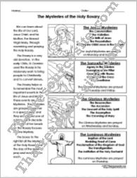 Mysteries of the Holy Rosary Student Reference Sheet