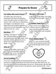 Prayers to Know Student Reference Sheet Set