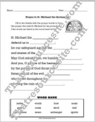Prayer to St. Michael Fill-In the Blanks Worksheet