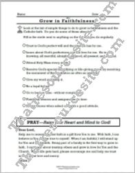 Virtue of Faithfulness prayer sheet
