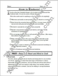 Grow in the Virtue of Kindness Prayer Worksheet