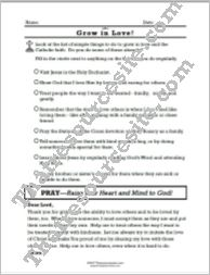 Grow in the Virtue of Love Prayer Worksheet