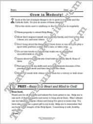 Grow in the Virtue of Modesty Prayer Worksheet