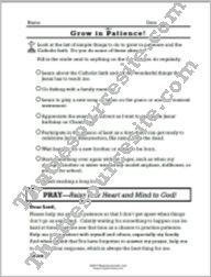 Grow in the Virtue of Patience Prayer Worksheet