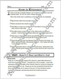 Grow in the Virtue of Reverence Prayer Worksheet