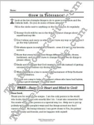 Virtue of Tolerance prayer sheet