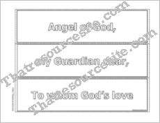Guardian Angel Prayer Put It in Order Game in Black-and-White