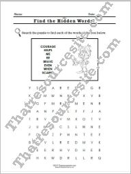 Virtue of Courage word search puzzle sheet
