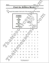 Virtue of Courtesy Word Search Worksheet