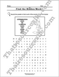 Virtue of Determination Word Search Worksheet