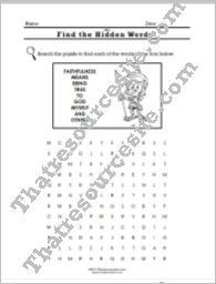 Virtue of Faithfulness Word Search Worksheet
