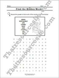 Virtue of Responsibility Word Search Worksheet